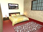 집 방 침대 부엌 3d model
