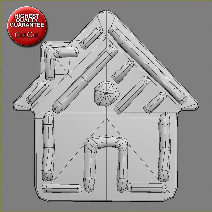 Gingerbread House royalty-free 3d model - Preview no. 5