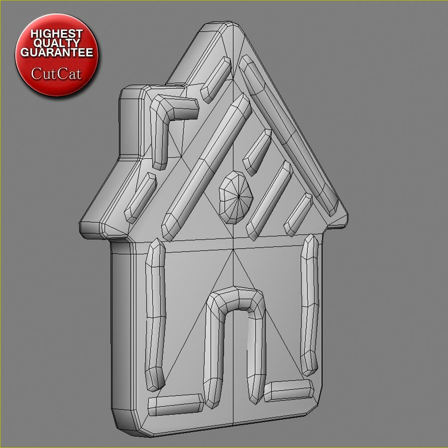 Gingerbread House royalty-free 3d model - Preview no. 6