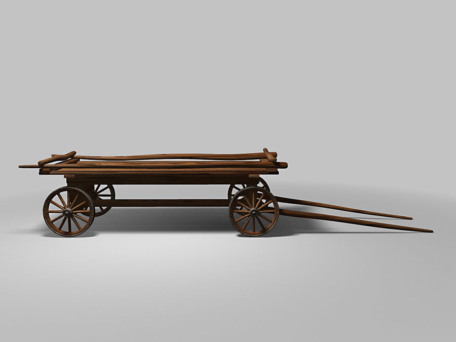 Horse carts royalty-free 3d model - Preview no. 2