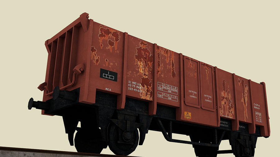 Train wagon royalty-free 3d model - Preview no. 2