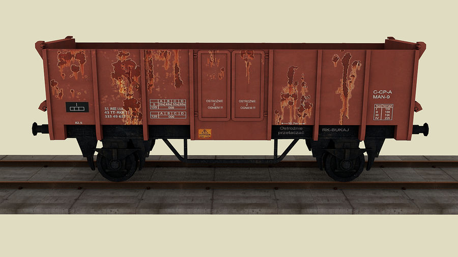 Train wagon royalty-free 3d model - Preview no. 5