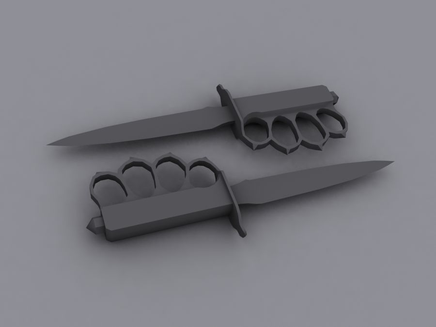 US M1918 trench knife royalty-free 3d model - Preview no. 1