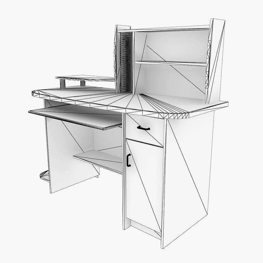 Computer Desk Table royalty-free 3d model - Preview no. 7