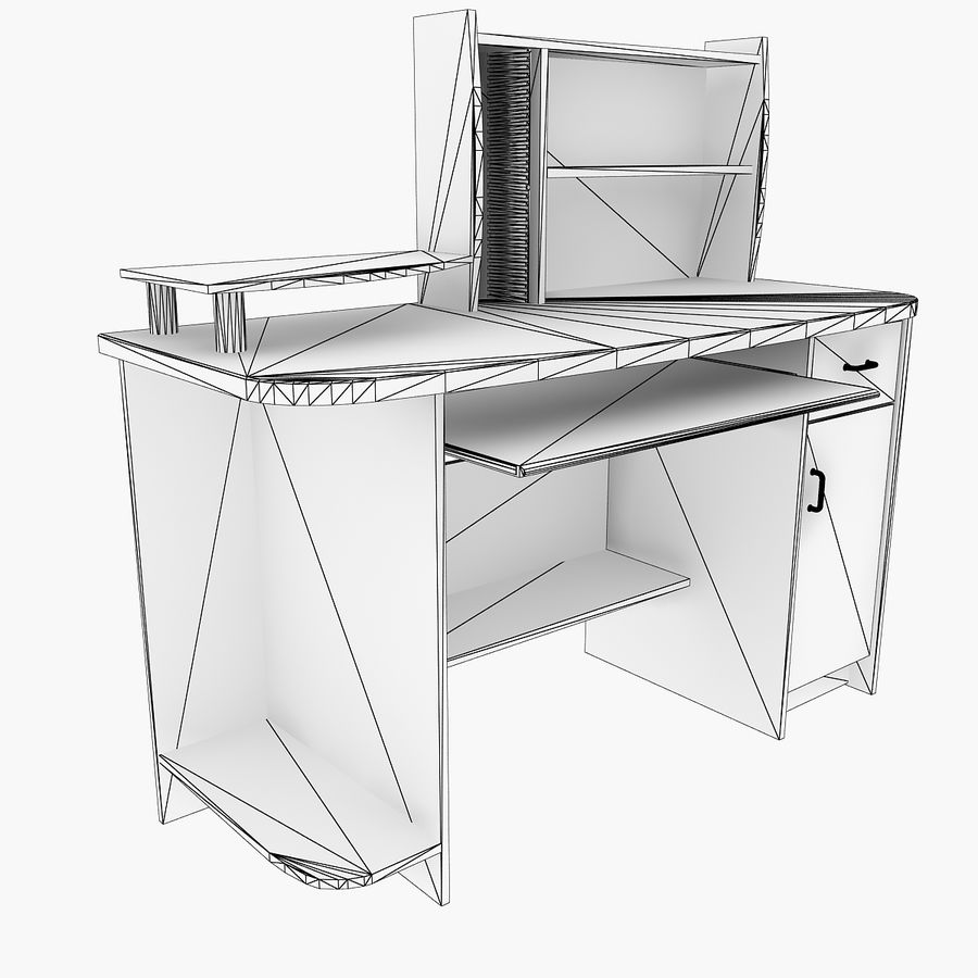 Computer Desk Table royalty-free 3d model - Preview no. 6