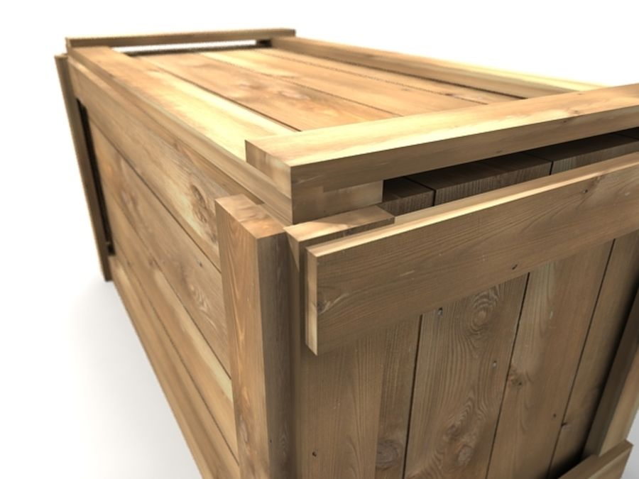 Simple Long Wooden Crate royalty-free 3d model - Preview no. 4