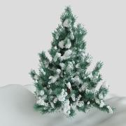 雪と松の木 3d model