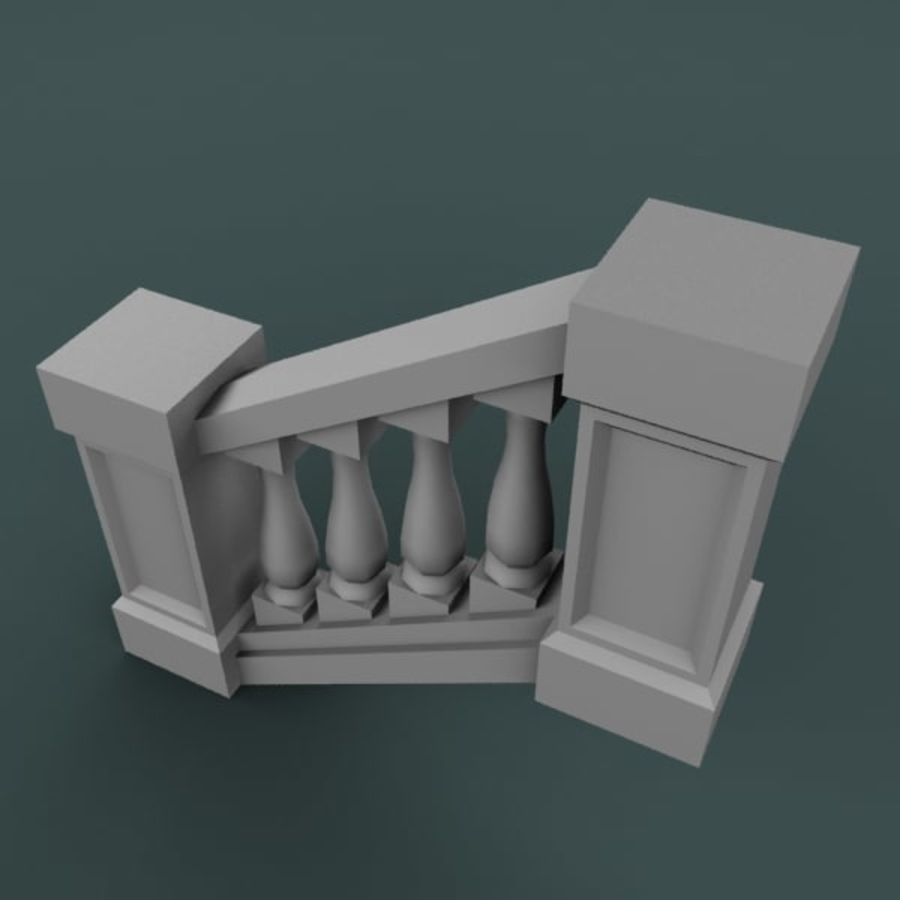 Balustrade 001_st04p royalty-free 3d model - Preview no. 3