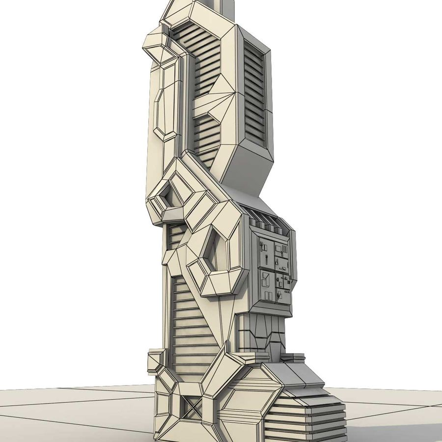 Sci Fi Building Futuristic Modern royalty-free 3d model - Preview no. 7