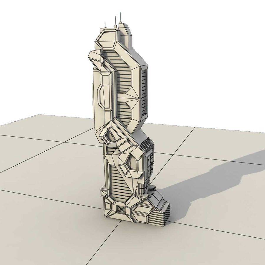 Sci Fi Building Futuristic Modern royalty-free 3d model - Preview no. 8