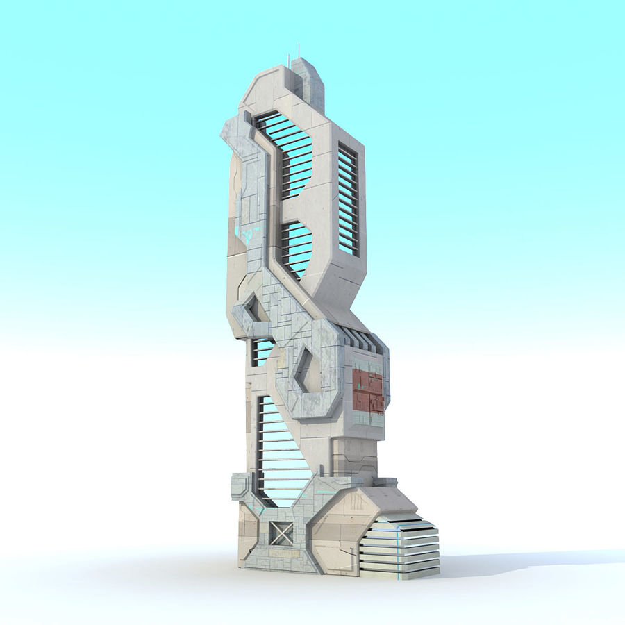 Sci Fi Building Futuristic Modern royalty-free 3d model - Preview no. 2