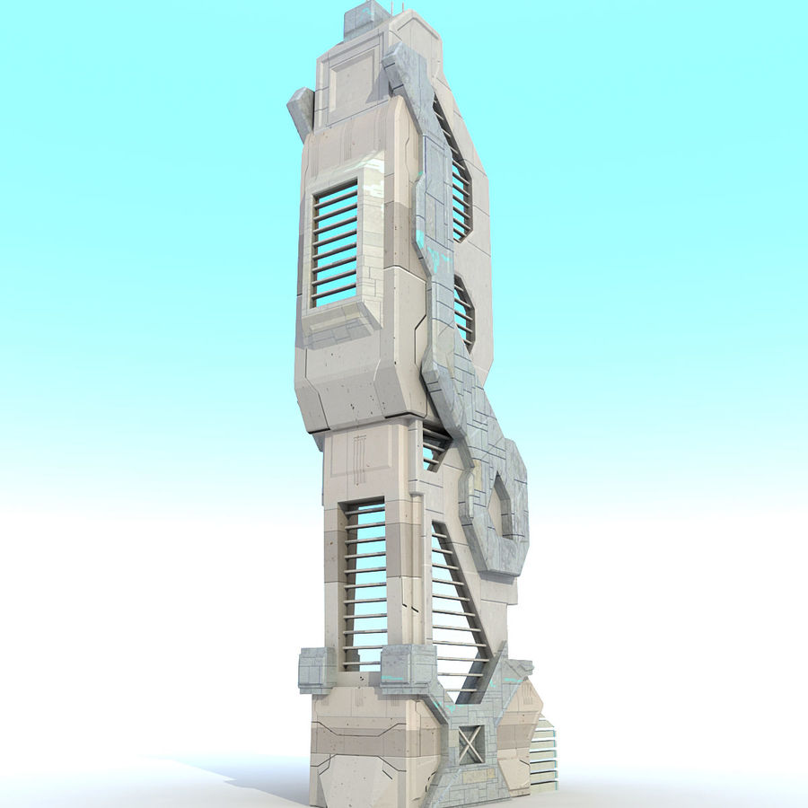 Sci Fi Building Futuristic Modern royalty-free 3d model - Preview no. 3