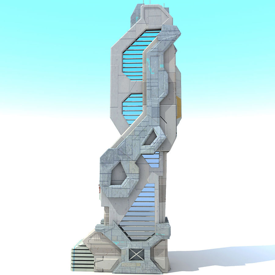 Sci Fi Building Futuristic Modern royalty-free 3d model - Preview no. 4