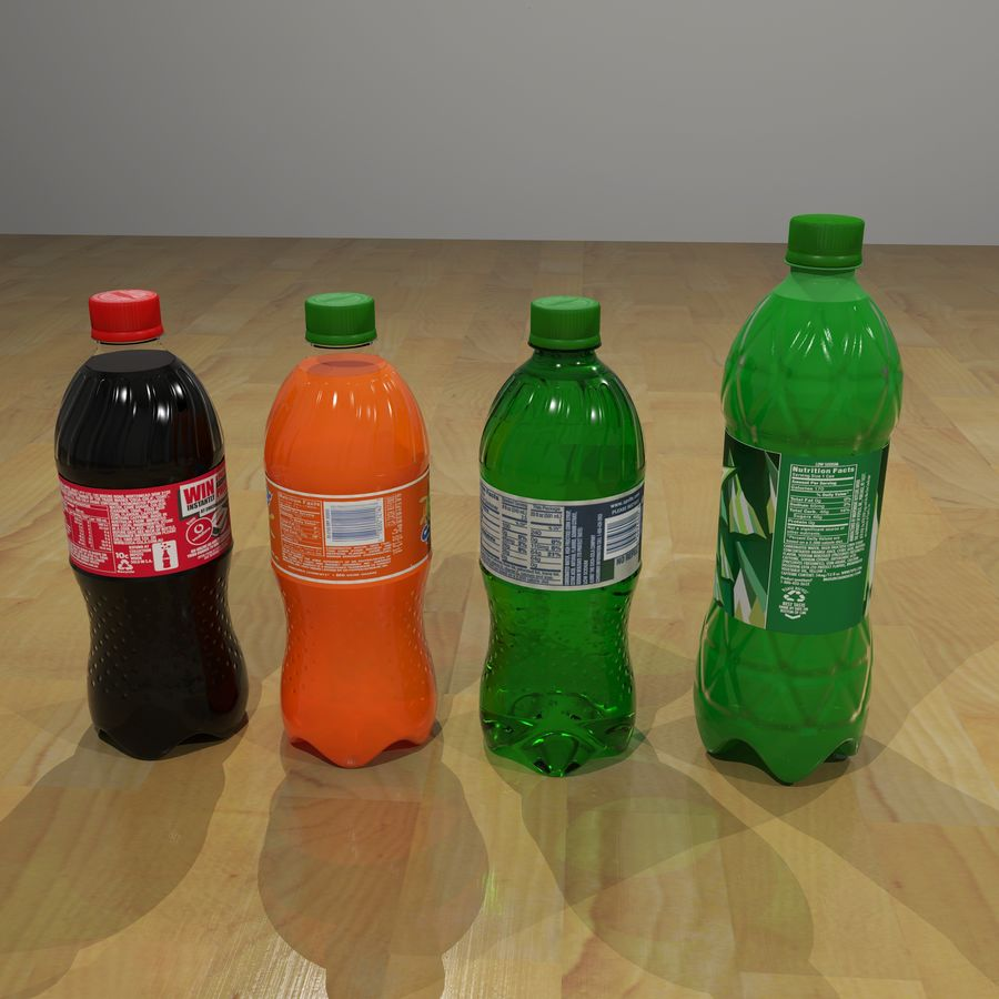 Plastic Pop Bottles royalty-free 3d model - Preview no. 2