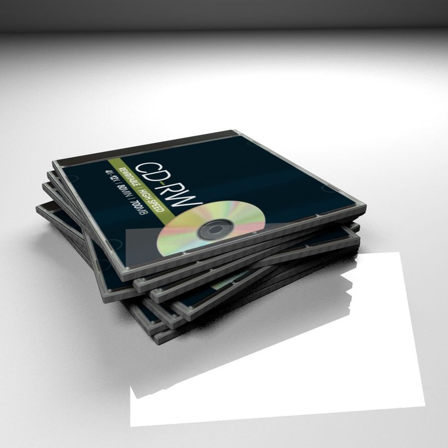 CD case stack royalty-free 3d model - Preview no. 2