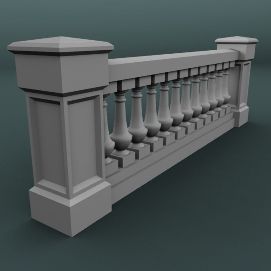 balustrade 002_li12p royalty-free 3d model - Preview no. 4
