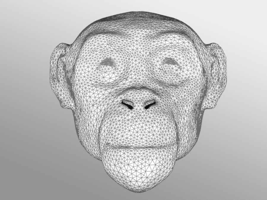 Ape Head royalty-free 3d model - Preview no. 3