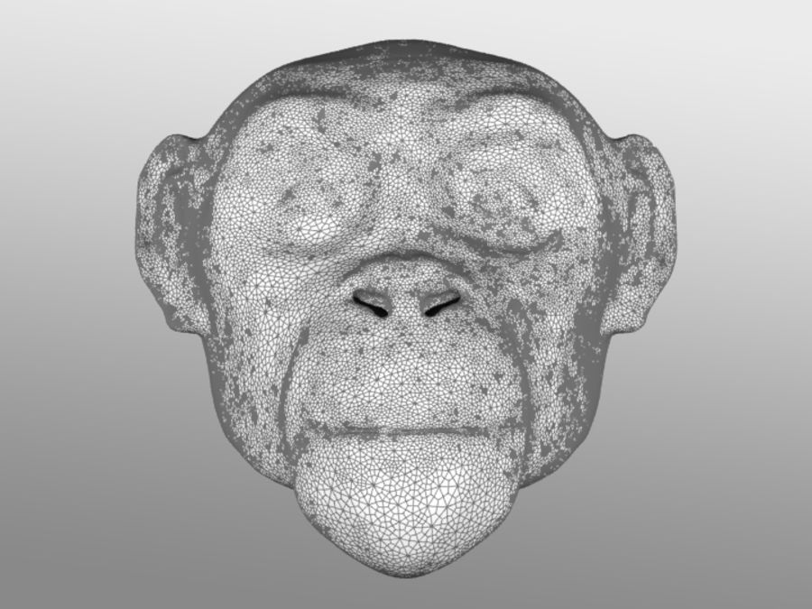 Ape Head royalty-free 3d model - Preview no. 4