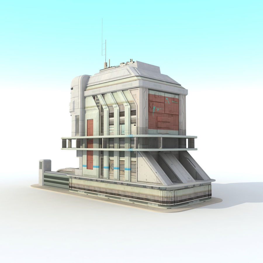 Sci Fi Building Futuristic royalty-free 3d model - Preview no. 2