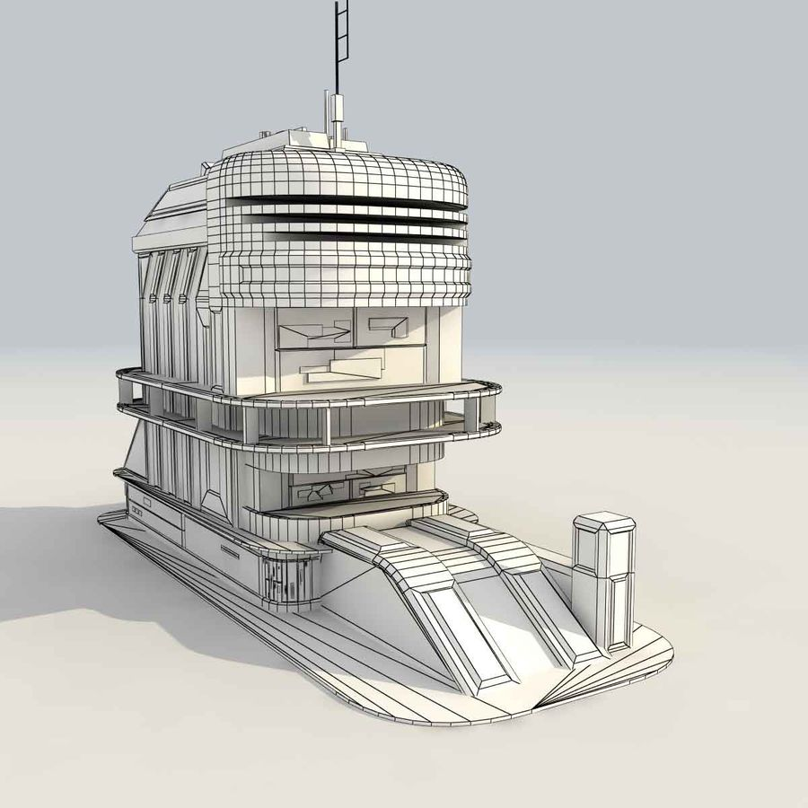 Sci Fi Building Futuristic royalty-free 3d model - Preview no. 11