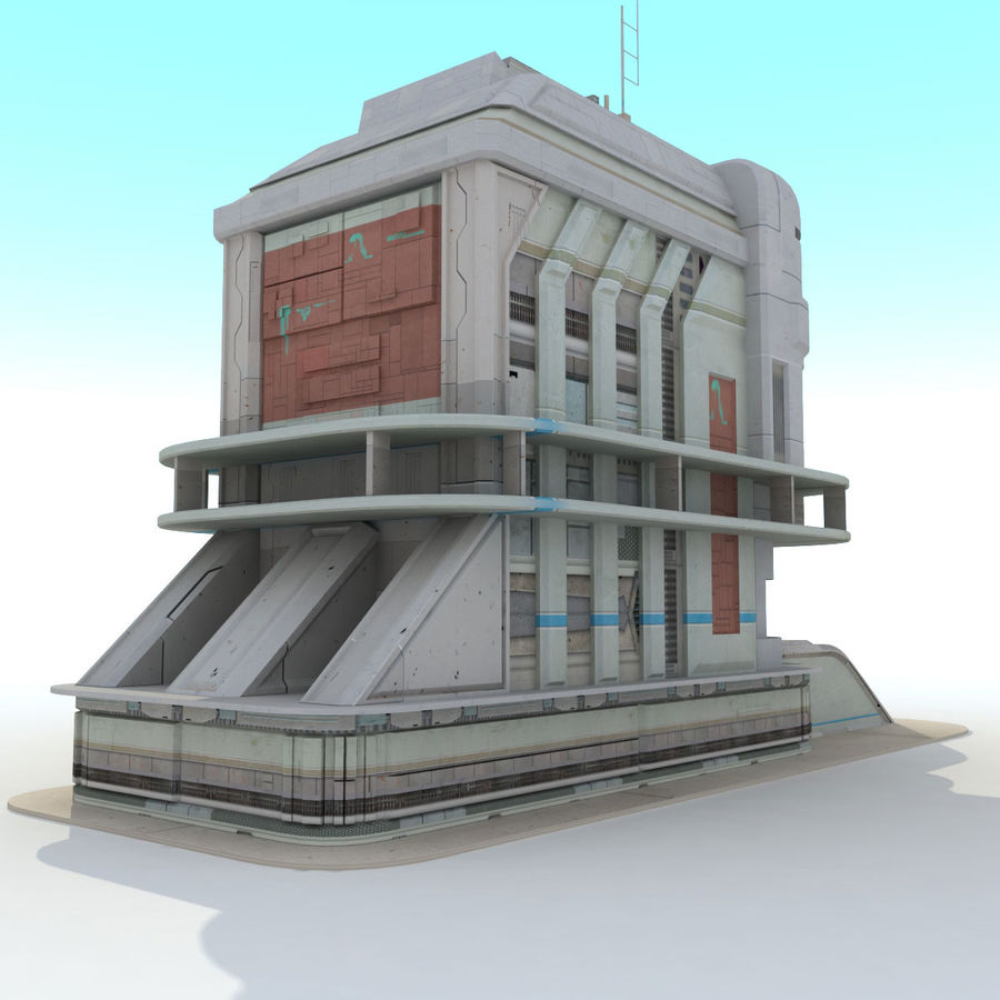 Sci Fi Building Futuristic royalty-free 3d model - Preview no. 3