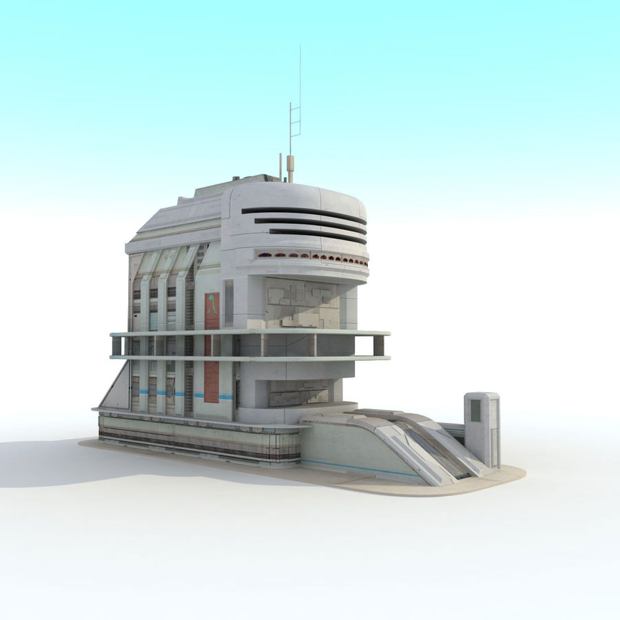 Sci Fi Building Futuristic royalty-free 3d model - Preview no. 4
