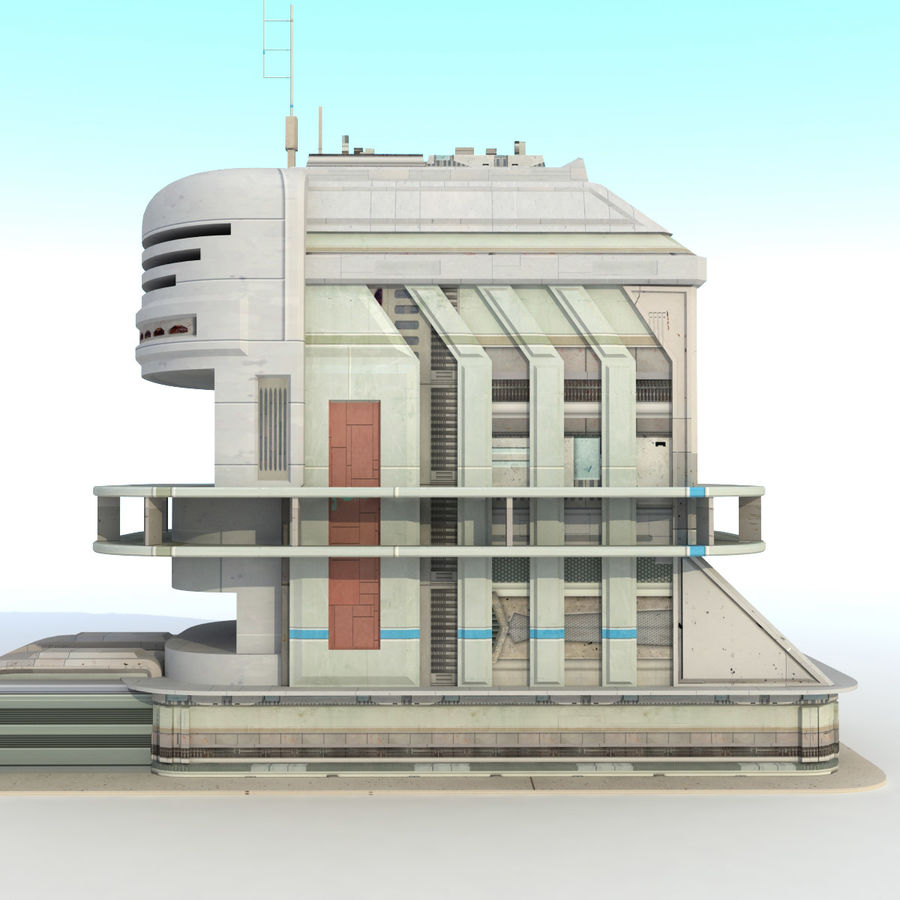 Sci Fi Building Futuristic royalty-free 3d model - Preview no. 6