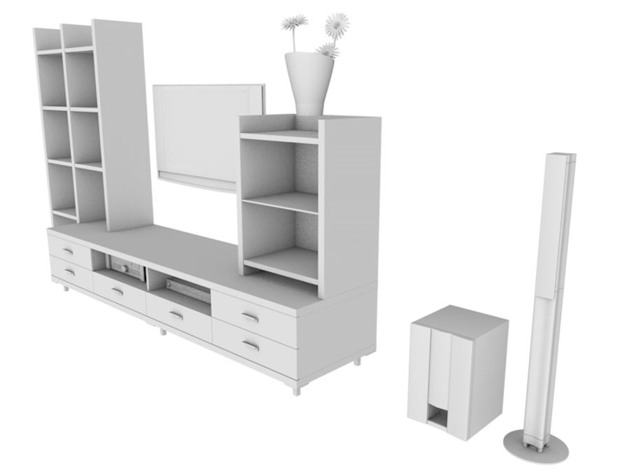 TV Stand royalty-free 3d model - Preview no. 3