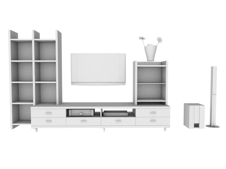 TV Stand royalty-free 3d model - Preview no. 2