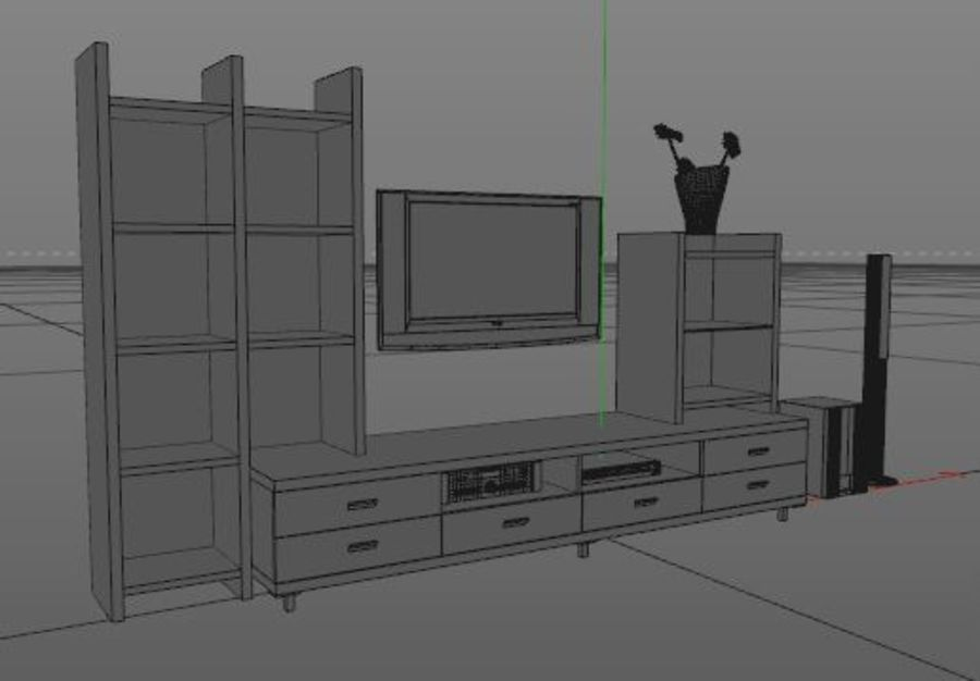 TV Stand royalty-free 3d model - Preview no. 5