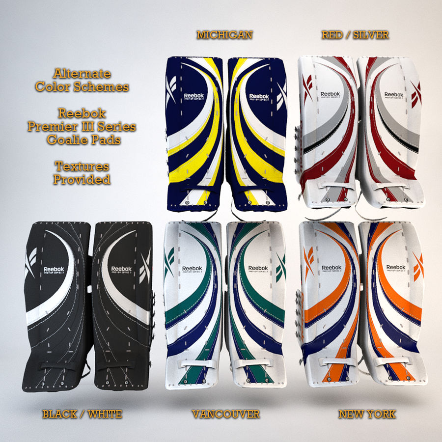Reebok Premier Series III Goalie Pads 3D Model $9 -  unknown  max