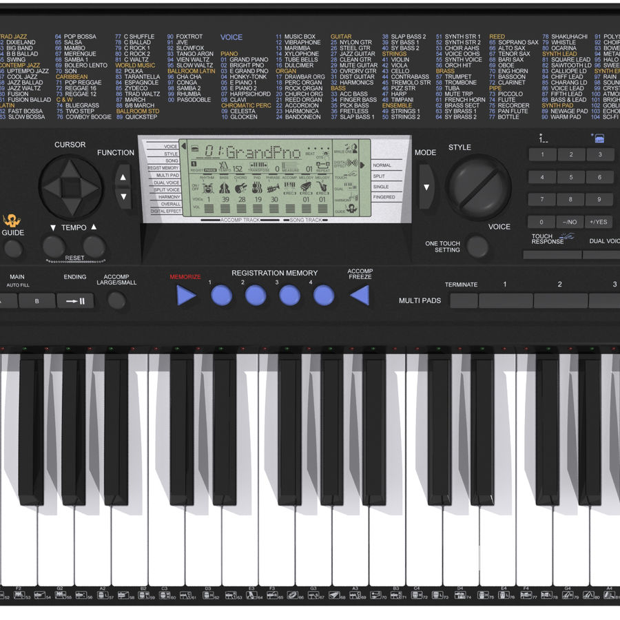 Клавиатура: Yamaha PSR 420: максимальный формат royalty-free 3d model - Preview no. 10