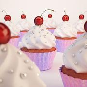 Cupcake with cherry on top 3d model