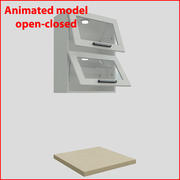 Kitchen furnitures up 60 cm glass doors orizontal 2 3d model