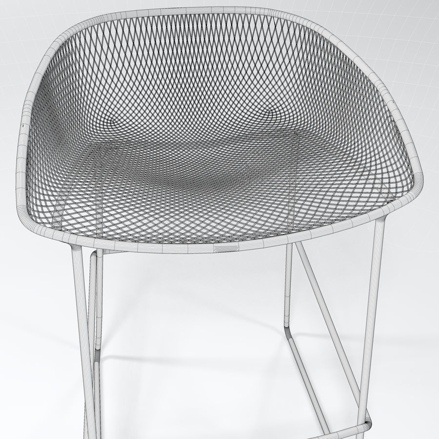 Patio Bar Stool royalty-free 3d model - Preview no. 6