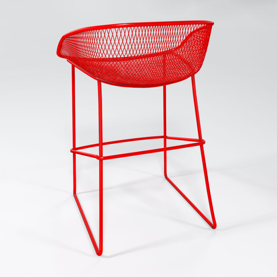 Patio Bar Stool royalty-free 3d model - Preview no. 7