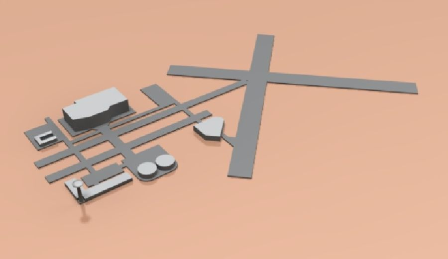 airport lowpoly royalty-free 3d model - Preview no. 3