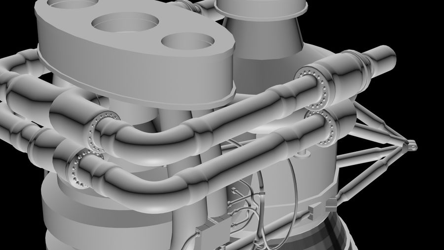Saturn 5 F1 Engine royalty-free 3d model - Preview no. 1