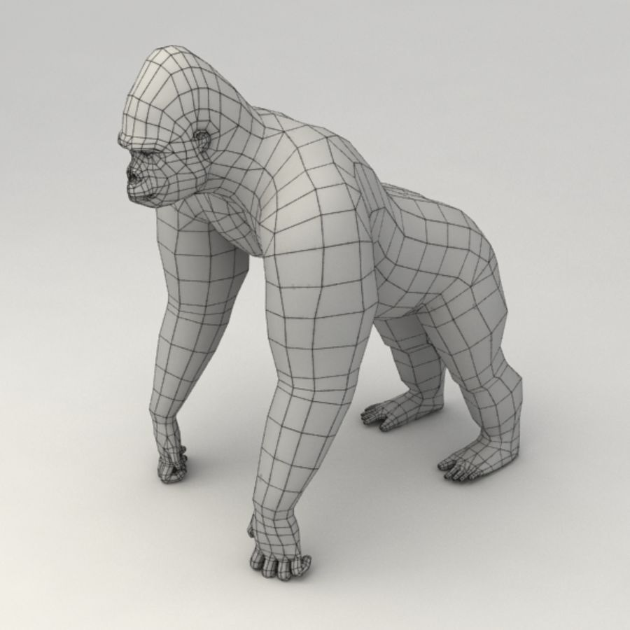 Gorilla rigged royalty-free 3d model - Preview no. 7