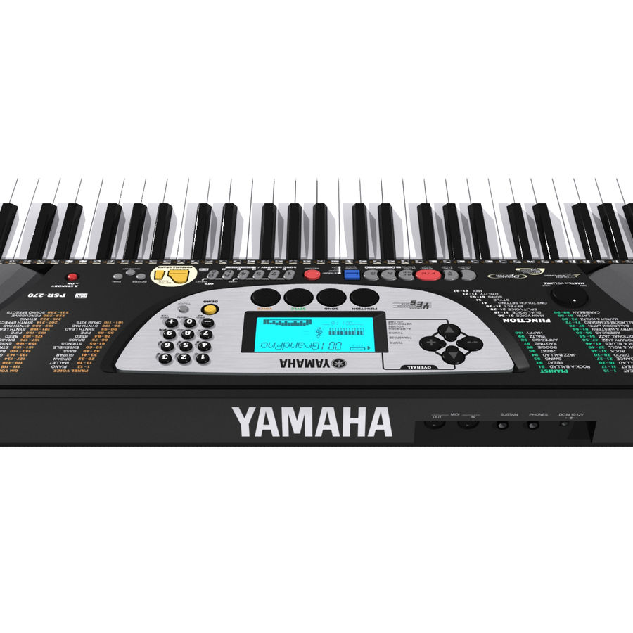 Toetsenbord: Yamaha PSR 270 royalty-free 3d model - Preview no. 14