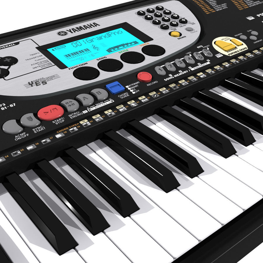 Tastiera: Yamaha PSR 270 royalty-free 3d model - Preview no. 1