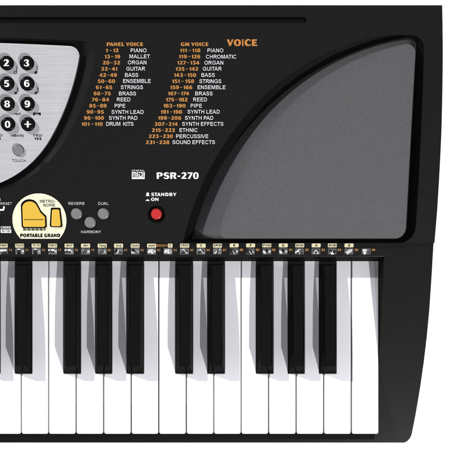 Tastiera: Yamaha PSR 270 royalty-free 3d model - Preview no. 5