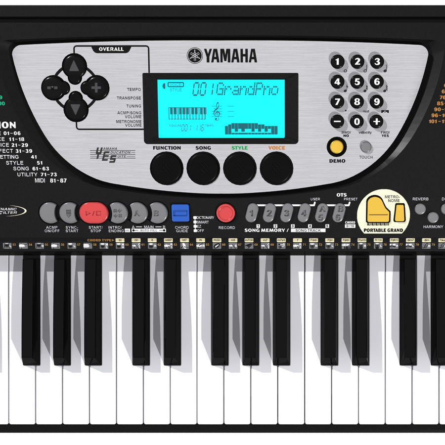 Tangentbord: Yamaha PSR 270 royalty-free 3d model - Preview no. 4