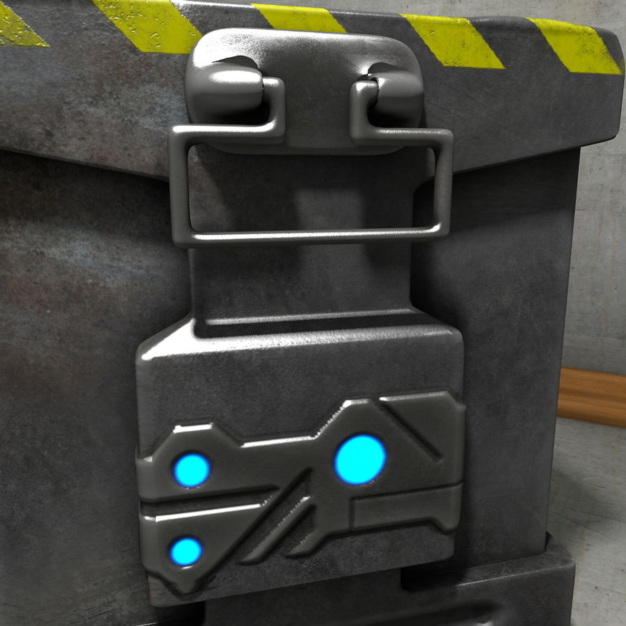Metal Crate Ammo Box royalty-free 3d model - Preview no. 6