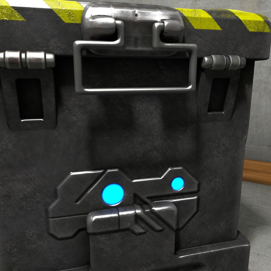 Metal Crate Ammo Box royalty-free 3d model - Preview no. 7