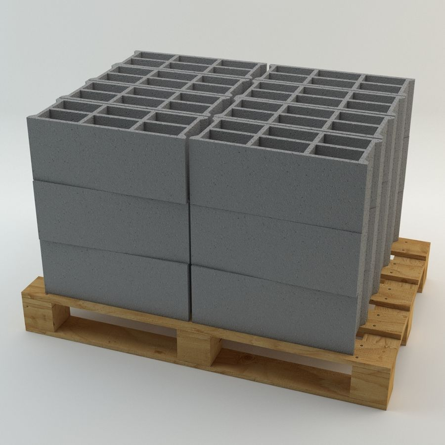 Pallet and Breeze Block royalty-free 3d model - Preview no. 3