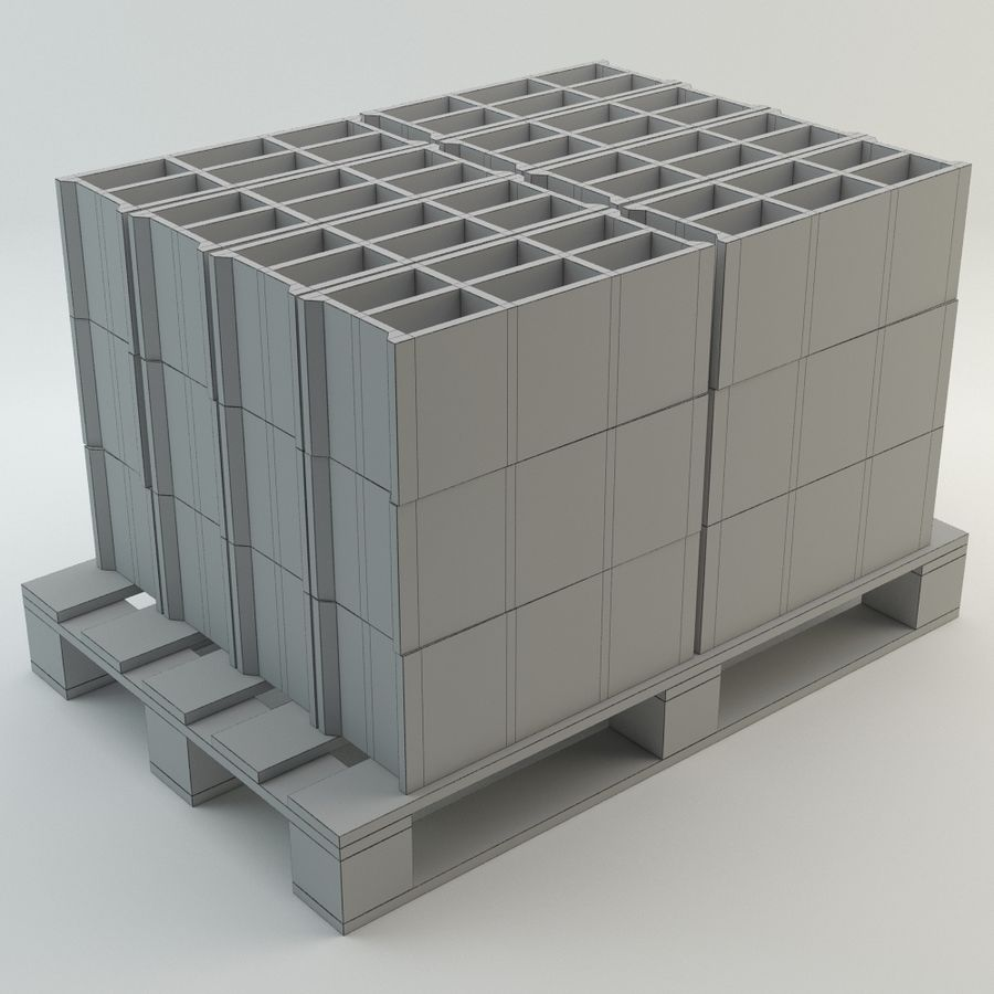 Pallet and Breeze Block royalty-free 3d model - Preview no. 6