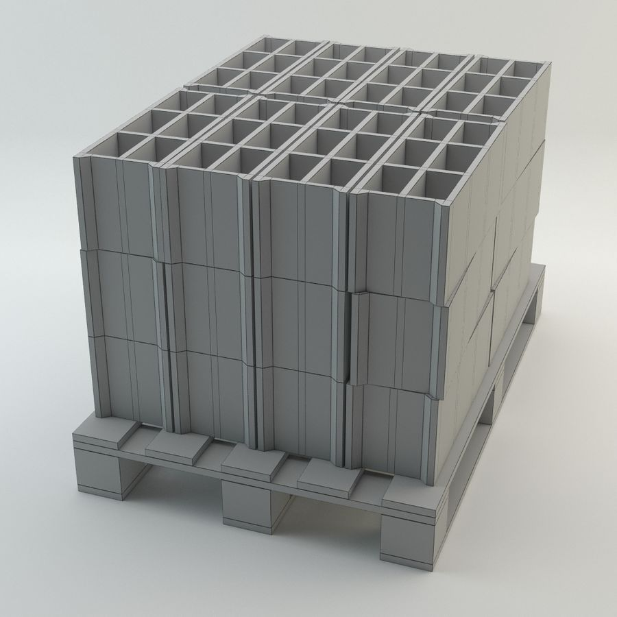 Pallet and Breeze Block royalty-free 3d model - Preview no. 5