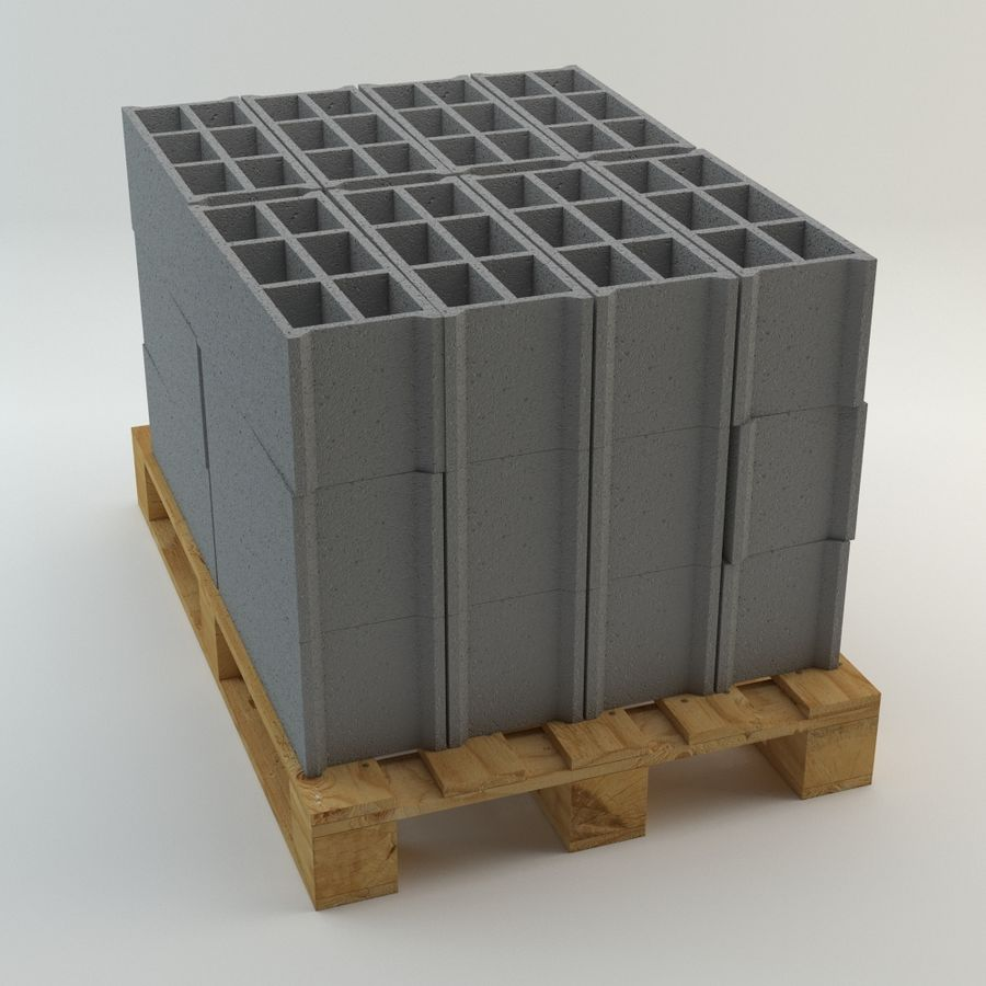 Pallet and Breeze Block royalty-free 3d model - Preview no. 2