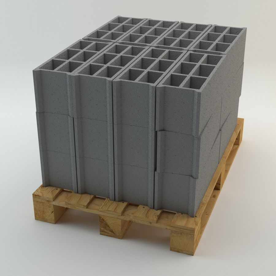 Pallet and Breeze Block royalty-free 3d model - Preview no. 4